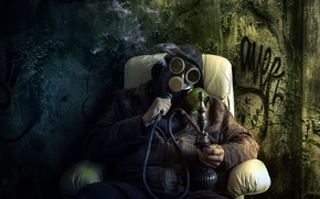 Picture hookah, the situation, gas mask