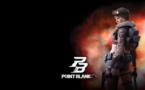 Picture girl, the dark background, gun, point blank