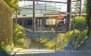 Picture Grass, Trees, Street, Morning, Train, Lights, Anime, Grass, Makoto Xingkai, Anime, Train, Morning, Trees, The …