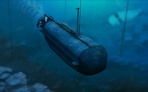 Picture sea, water, the plane, boat, art, operation, underwater, mines, Arma 3