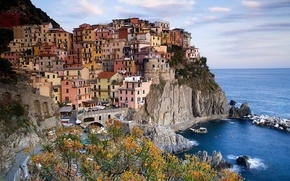 Picture sea, town, Italy