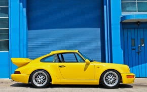 Picture yellow, the building, Porsche, Porsche, yellow, 964, building