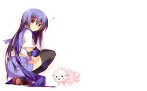 Picture scarf, girl, puppy, white background, blush, sitting, long hair, black stockings, squat, Angel Beats!, Angel …