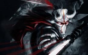 Picture blood, sword, mask, art, horns, Dota 2, Juggernaut, Yurnero