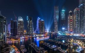 Picture light, night, the city, lights, the evening, Dubai, UAE, Marina
