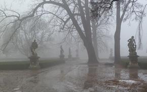 Picture road, fog, Park, spring, haze, sculpture, slush