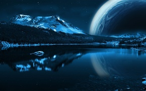 Picture water, stars, mountains, planet
