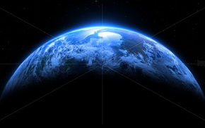 Picture white, blue, lines, planet