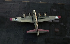 Picture the plane, the airfield, B-17