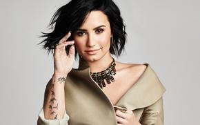 Wallpaper portrait, Demi Lovato, Demi Lovato, style, background, singer, brunette, American Way, Mike Rosenthal, necklace, tattoo, ...