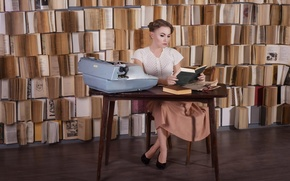 Picture girl, table, model, skirt, portrait, glasses, hairstyle, shoes, blouse, book, red, library, stack, machine, photographer, …