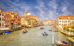 Picture the sky, clouds, people, home, boat, channel, Venice