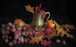 Picture leaves, Apple, grapes, Cup, pear, still life