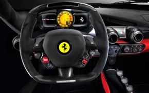 Picture macro, panel, blur, devices, the wheel, Ferrari, supercar, class, supercar, car, salon, Fernando Alonso, bokeh, …