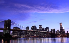 Picture the sky, clouds, city, the city, lights, the evening, new York, new york, Brooklyn bridge, ...