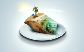 Wallpaper cake, umbrella, island, chair, plate, sand, sea, water, dinosaur, the ocean, the sun, pie, mattress, ...