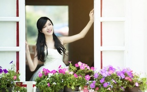 Picture summer, the sun, flowers, city, the city, smile, house, street, mood, Girl, morning, brunette, window, …