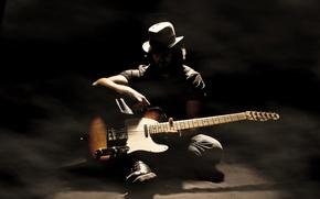 Picture music, guitar, shadows, musician