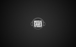 Picture music, the inscription, round, headphones