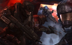 Picture the game, figure, flight, game, soldiers, flying, halo, halo, artwork, futuristic