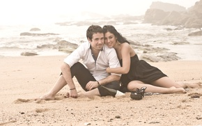 Picture sea, beach, pair, lovers
