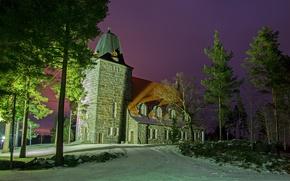 Picture winter, trees, Church, Finland, Finland, To sastamal, Karkku