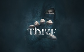 Picture look, fog, hand, logo, hood, arrows, thief, Eidos Interactive, Thief, Garrett, (2014), Eidos Montreal, Garrett