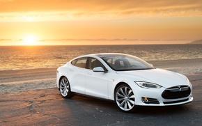 Picture beach, sunset, electric car, Tesla Model S