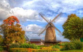 Picture autumn, the sky, leaves, clouds, trees, house, HDR, Germany, mill, the bushes, Minden