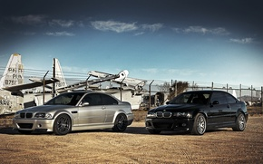 Picture bmw, BMW, aircraft, black, black, the sky, silver, e46, clouds, silvery