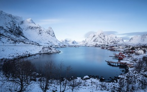 Picture winter, mountains, clouds, snow, village, Norway, lagoon, tops, peaks, Lofoten