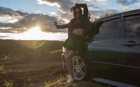 Picture car, lexus, girl, sony, night, moscow, low, body, smotra, alena, drive2, a99