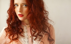 Picture look, girl, portrait, red hair, Redhead, red lips, Denis Goncharov