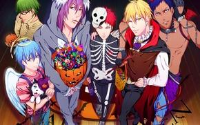 Picture holiday, wings, anime, art, candy, skeleton, sweets, pumpkin, horns, guys, Halloween, halo, costumes, akubaka, kuroko …