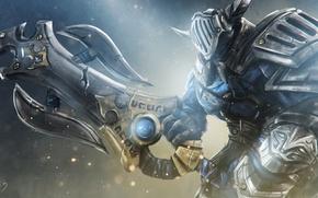 Picture weapons, sword, armor, art, helmet, knight, Dota 2, Sven, Rogue Knight