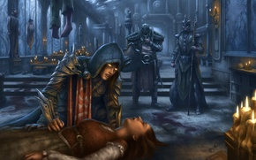 Picture girl, death, castle, candles, art, corpses, Diablo III, Reaper of Souls, cathedral Ephemera