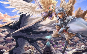 Picture the sky, girl, clouds, flight, weapons, castle, height, wings, dragons, angel, sword, anime, art, guy, …