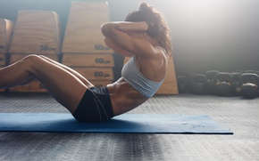 Wallpaper female, workout, abs, Crossfit