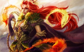 Wallpaper girl, fire, magic, monsters, creatures, red, whip