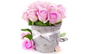 Picture flowers, roses, bouquet, vase, pink, romantic, bouquet, roses, ribbon