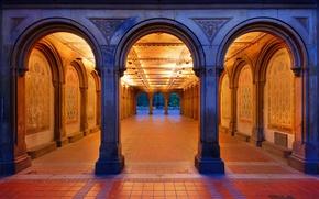 Wallpaper Central Park, pass, arch, New York, fountain, USA