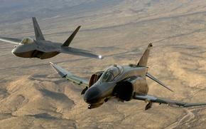 Picture The plane, Desert, Height, Flight, F-22, Raptor, F-4, Phantom II