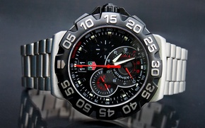 Picture metal, red, Watch, tag heuer