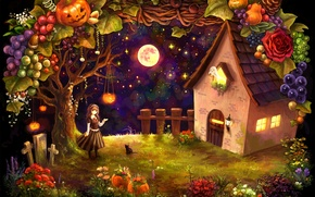 Picture cat, girl, vegetables, hut, halloween, pumpkin, crosses, the moon, house, fruit, harvest, night, Ghost, stars, ...