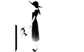 Picture girl, bouquet, hat, art, grave, Sawasawa