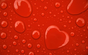 Wallpaper Red, Drops, Heart