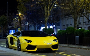 Picture Lamborghini, supercar, paris, france, Yellow, LP700-4, Aventador, exotic