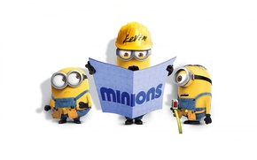 Picture cinema, yellow, Kevin, movie, film, workers, Minions, belt, gloves, pearls, Minion, construction, goggles, laborers, measuring …