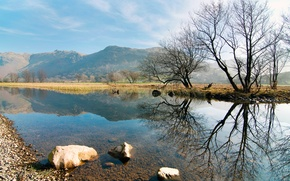 Picture trees, mountains, nature, reflection, river, stones, hills, spring