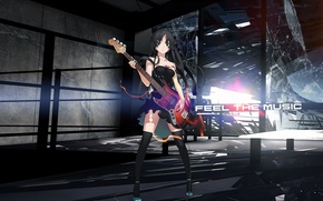Picture glass, girl, rendering, the inscription, guitar, mio akiyama, k-on!, broken